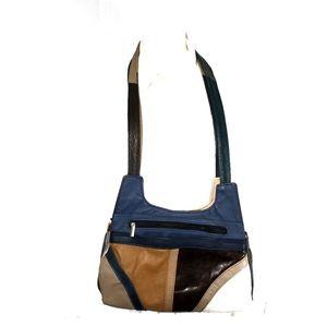 Genuine leather multi color shoulder bag
